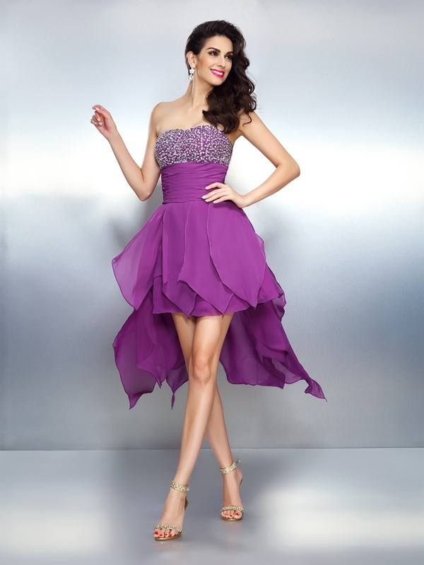 Savor the Occasion Princess Style Strapless Beading High Low Chiffon Cocktail Dresses