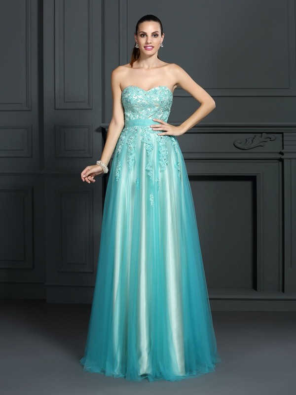 Absolute Lovely Princess Style Sweetheart Applique Long Elastic Woven Satin Dresses