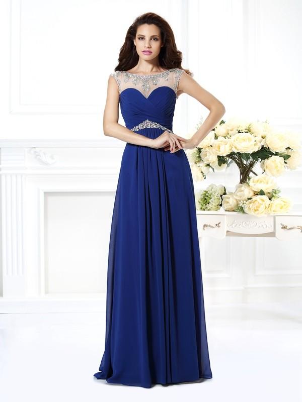 Pleasant Emphasis Princess Style Bateau Beading Long Chiffon Dresses