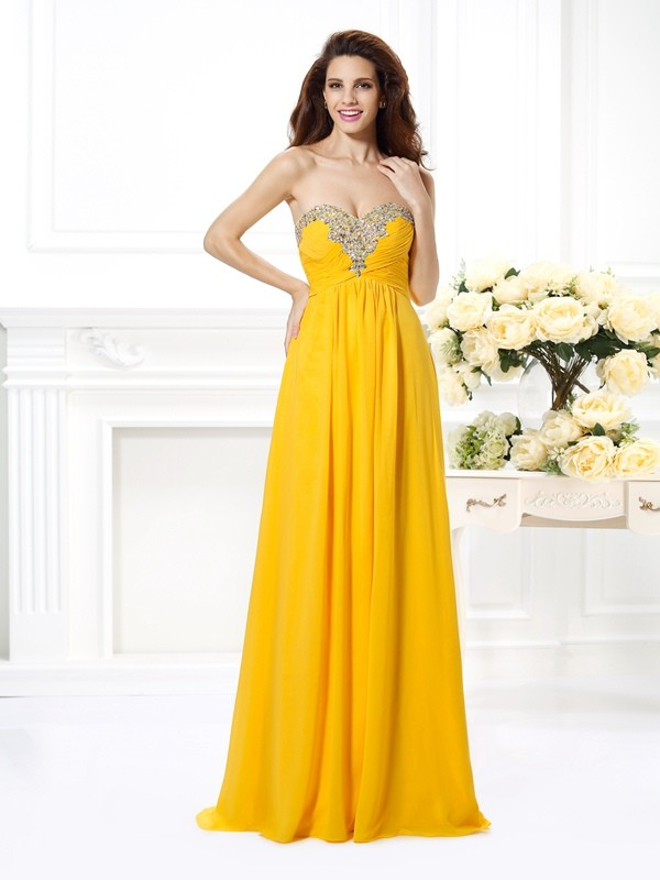 Time to Shine Princess Style Sweetheart Beading Long Chiffon Dresses
