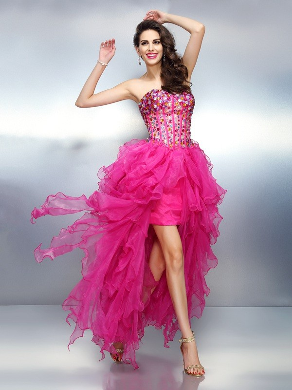 Efflorescent Dreams Princess Style Sweetheart Rhinestone High Low Organza Cocktail Dresses