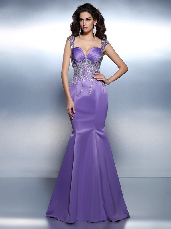 Festive Self Mermaid Style Sweetheart Beading Long Satin Dresses