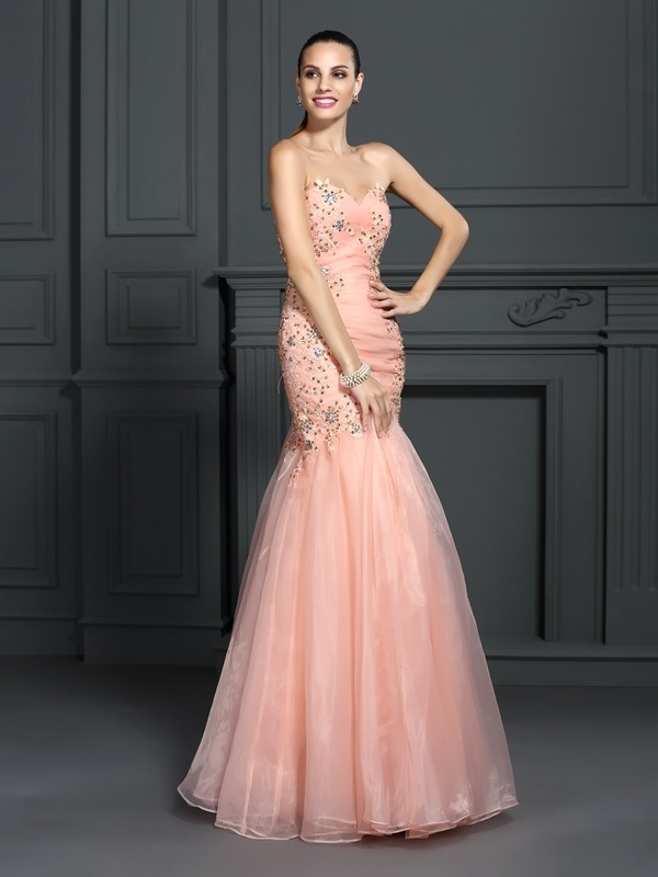 Confident Option Mermaid Style Sweetheart Applique Long Organza Dresses