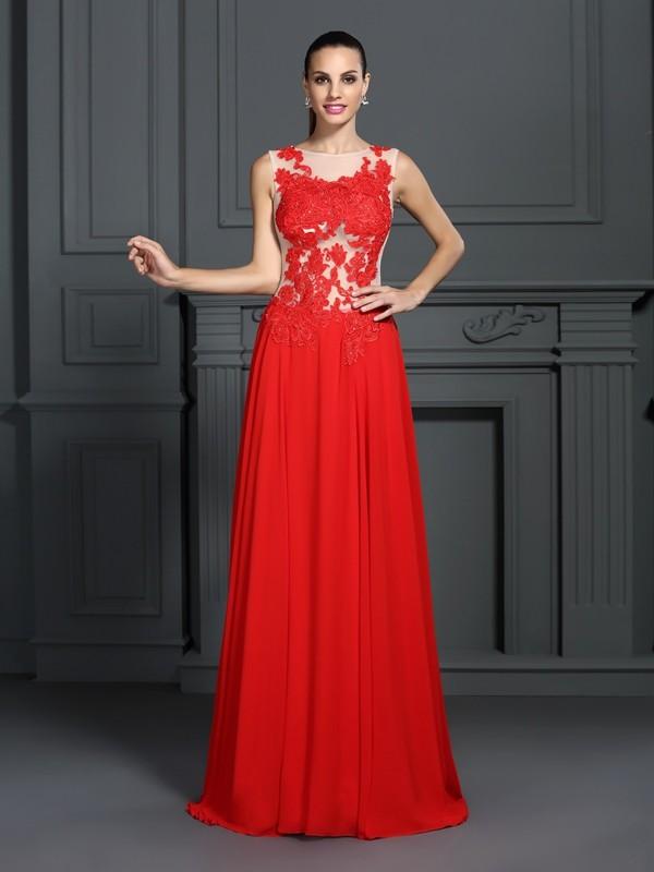 Chic Chic London Princess Style Bateau Applique Long Chiffon Dresses