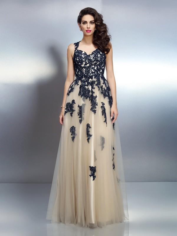 Voiced Vivacity Princess Style Straps Applique Long Elastic Woven Satin Dresses