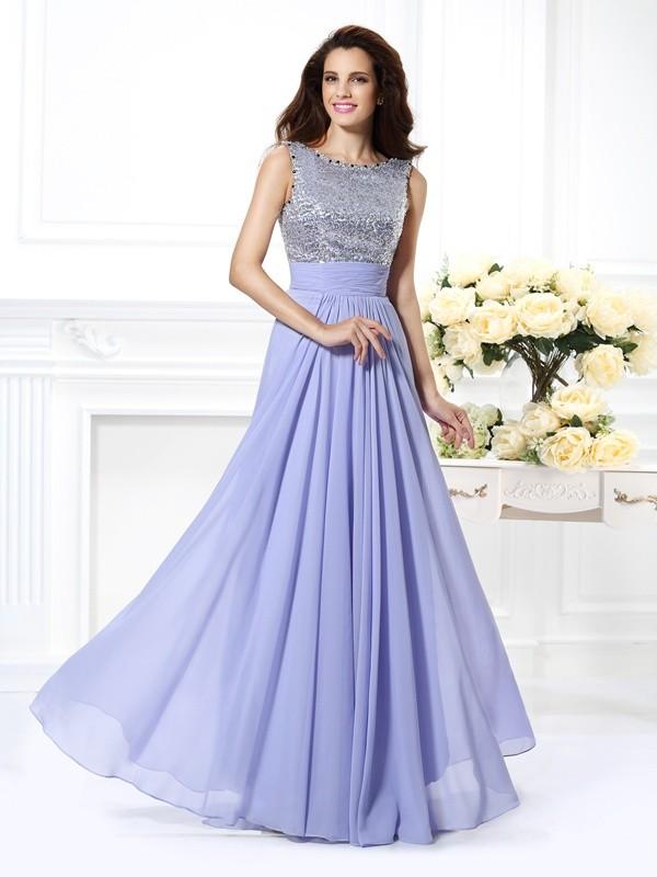 Automatic Classic Princess Style Bateau Lace Paillette Long Chiffon Dresses