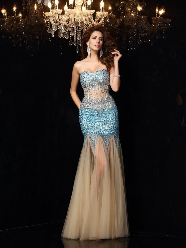 Pleased to be Me Sheath Style Sweetheart Beading Long Net Dresses