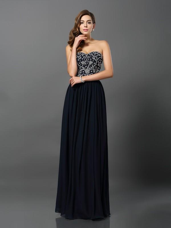 Confident Option Princess Style Sweetheart Beading Long Chiffon Dresses