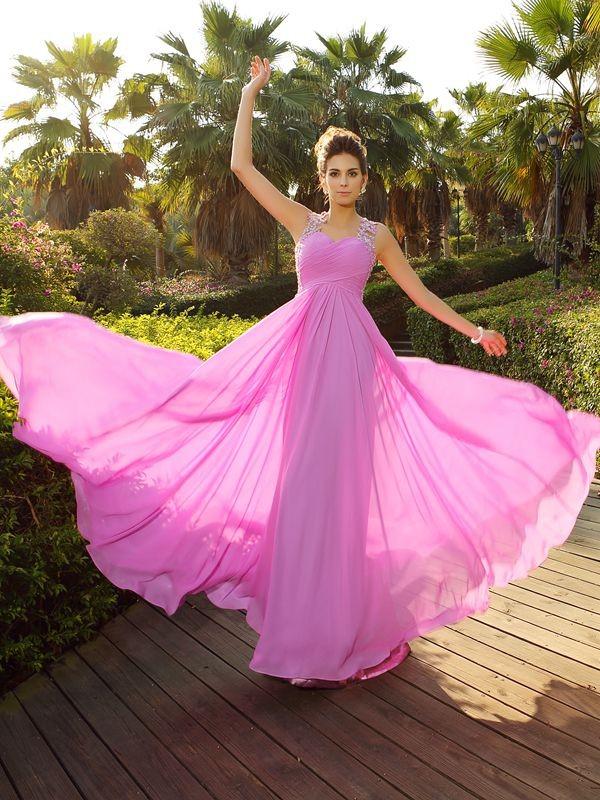 Fabulous Fit Princess Style Straps Applique Long Chiffon Dresses