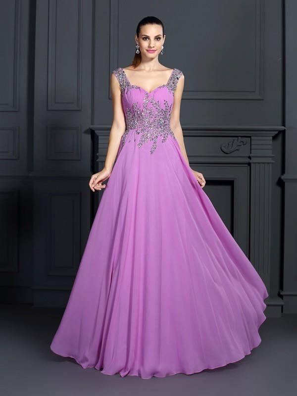 Visual Moment Princess Style Straps Beading Long Chiffon Dresses