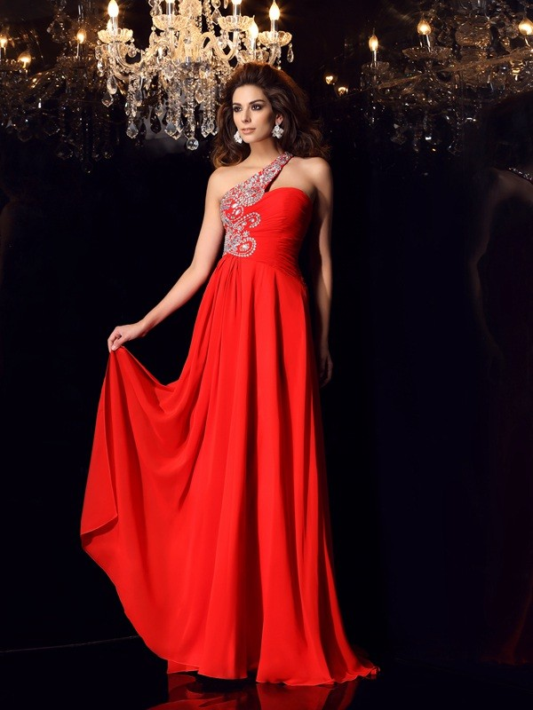 Too Much Fun Princess Style One-Shoulder Beading Long Chiffon Dresses