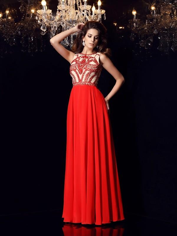 Stylish Refresh Princess Style Scoop Beading Long Chiffon Dresses