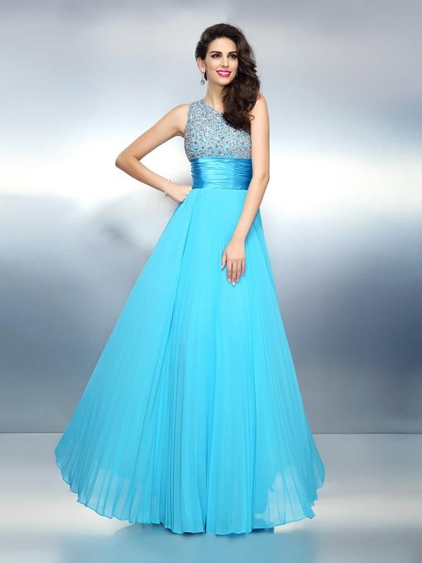 Lively Identity Princess Style One-Shoulder Beading Long Chiffon Dresses
