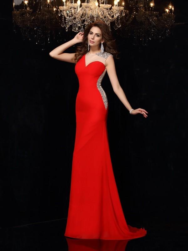 Romantic Vibes Sheath Style Scoop Beading Long Chiffon Dresses