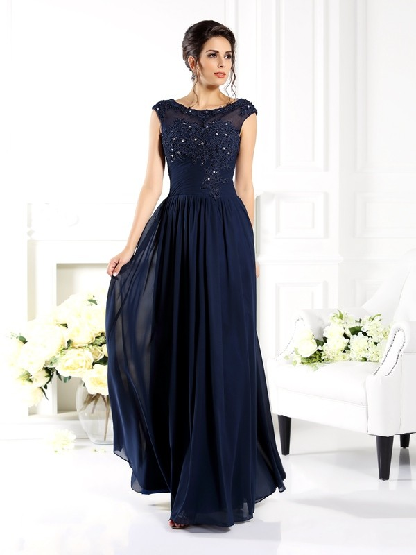 Beautiful You Princess Style Scoop Beading Long Chiffon Mother of the Bride Dresses