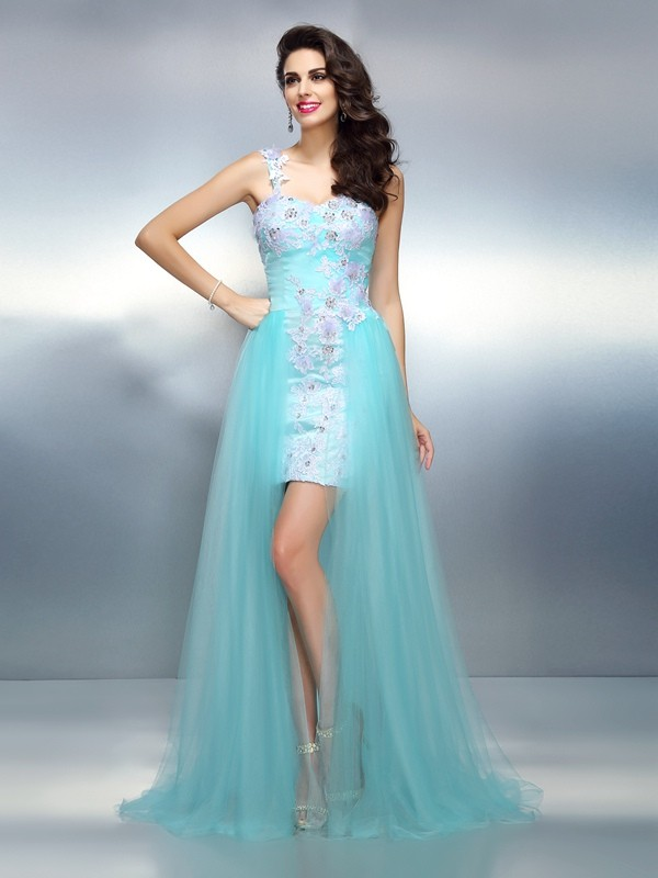 Easily Adored Sheath Style One-Shoulder Applique Long Elastic Woven Satin Dresses