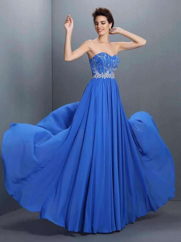 Embracing Grace Princess Style Sweetheart Beading Long Chiffon Dresses