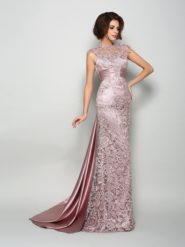 Eye-Catching Charm Princess Style High Neck Long Elastic Woven Satin Mother of the Bride Dresses