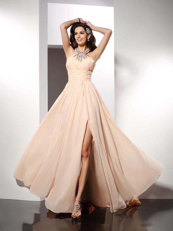 Pleasant Emphasis Princess Style Jewel Ruffles Long Chiffon Dresses