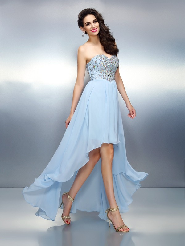 Treasured Reveries Princess Style Sweetheart Ruffles High Low Chiffon Cocktail Dresses