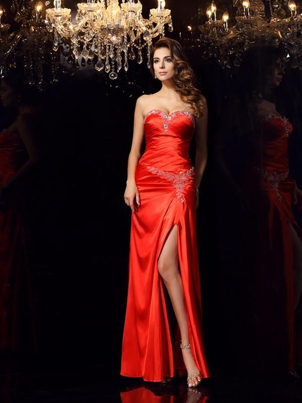 Automatic Classic Sheath Style Sweetheart Beading Long Elastic Woven Satin Dresses