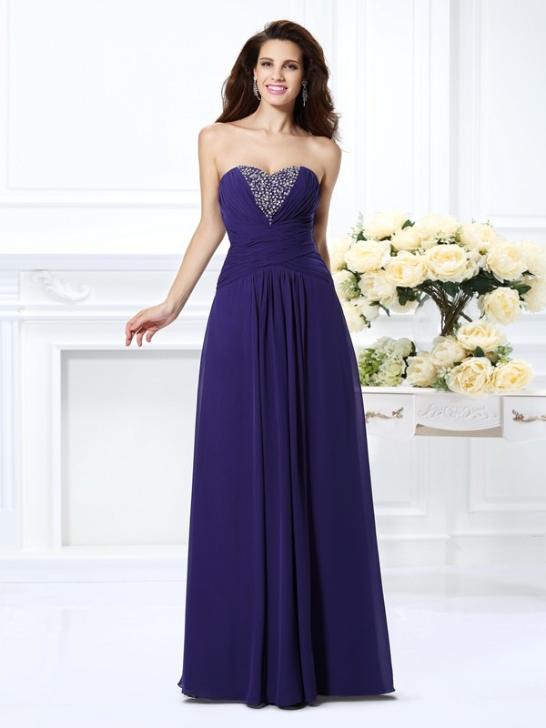 Pleased to be Me Princess Style Sweetheart Beading Long Chiffon Dresses