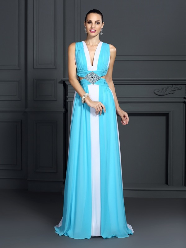 Confident Option Princess Style Halter Ruffles Long Chiffon Dresses