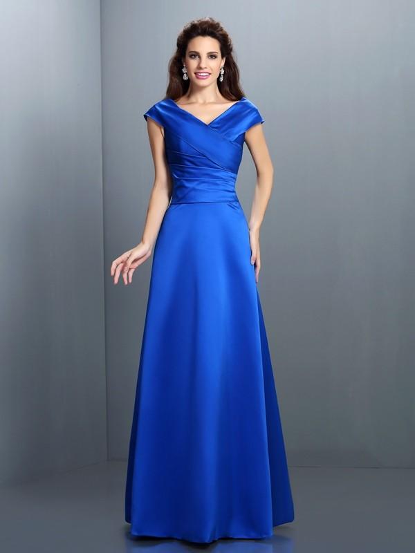 Glitz the Spot Princess Style V-neck Long Satin Dresses