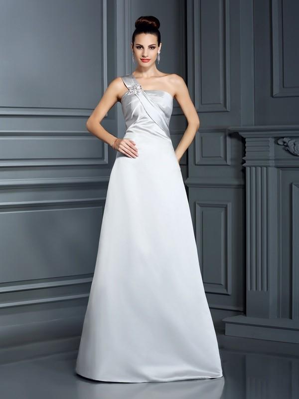 Festive Self Princess Style One-Shoulder Long Satin Dresses