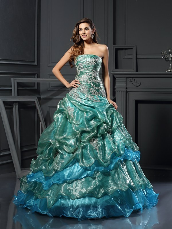 Cheerful Spirit Ball Gown Sweetheart Applique Long Tulle Quinceanera Dresses