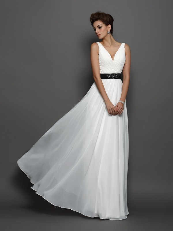 Fresh Picks Princess Style V-neck Sash/Ribbon/Belt Long Chiffon Wedding Dresses