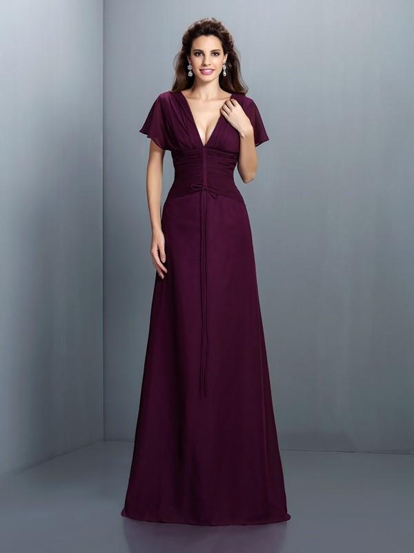 Glitz the Spot Princess Style V-neck Ruched Long Chiffon Dresses