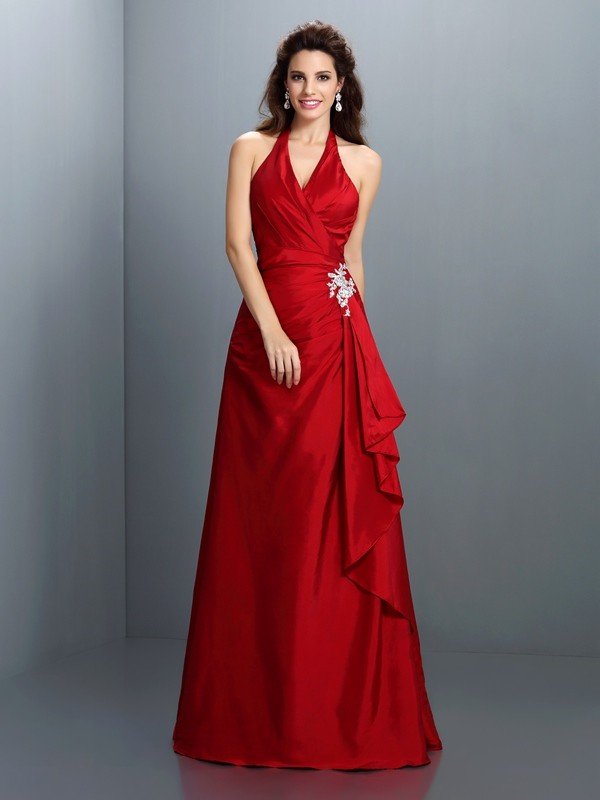 Treasured Reveries Princess Style Halter Beading Long Taffeta Dresses