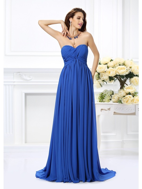 Naturally Chic Princess Style Sweetheart Ruched Long Chiffon Dresses