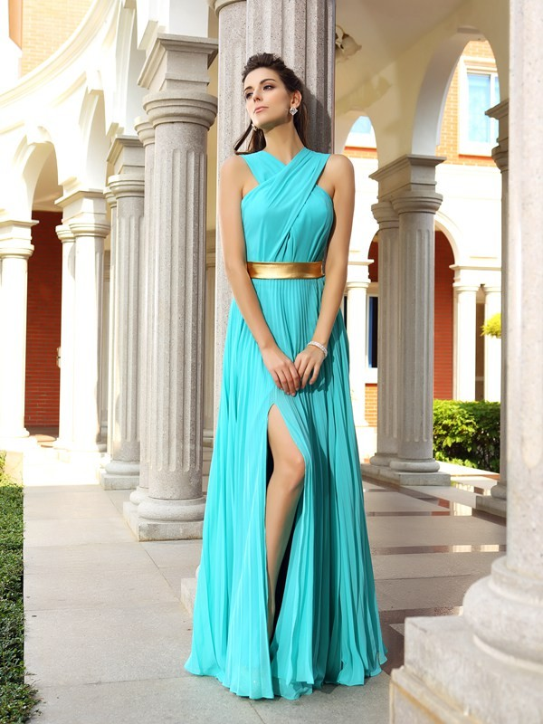 Befits Your Brilliance Princess Style Pleats Long Chiffon Dresses