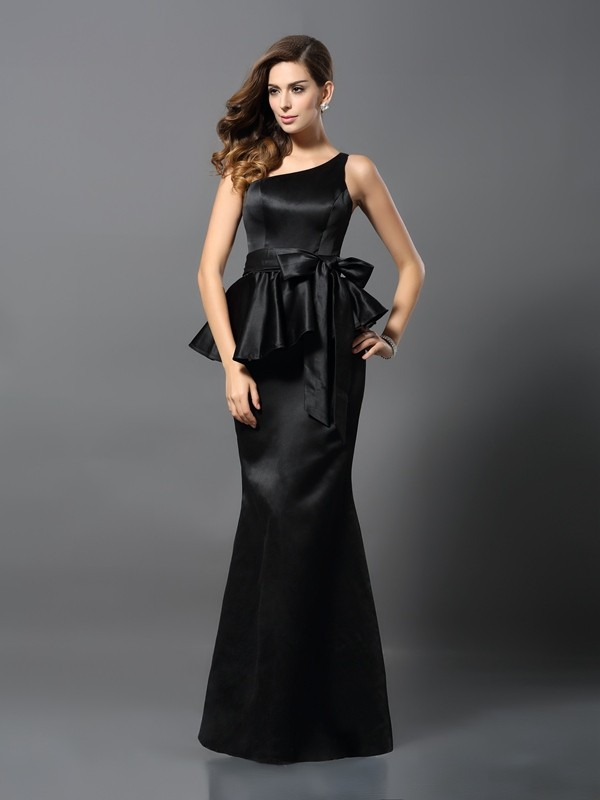 Time to Shine Mermaid Style One-Shoulder Bowknot Long Satin Dresses