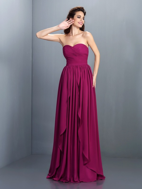 Beautiful You Princess Style Sweetheart Pleats Long Chiffon Dresses