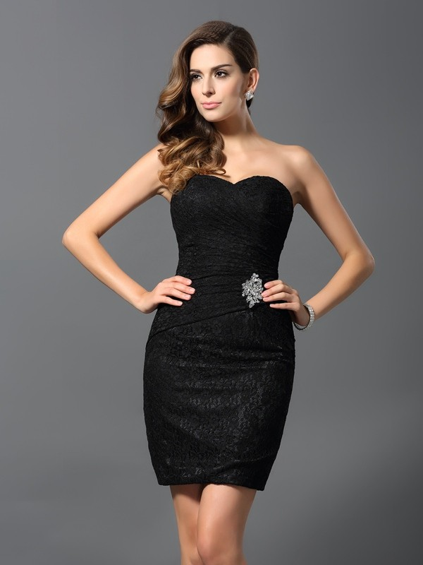 Touch of Texture Sheath Style Sweetheart Rhinestone Short Lace Cocktail Dresses