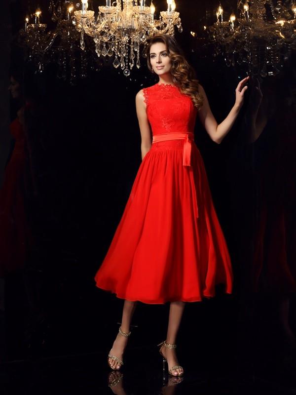 Easily Adored Princess Style High Neck Sash/Ribbon/Belt Short Chiffon Dresses
