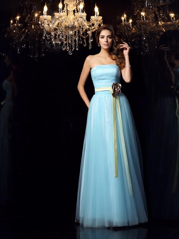 Sweet Sensation Ball Gown Strapless Sash/Ribbon/Belt Long Satin Quinceanera Dresses