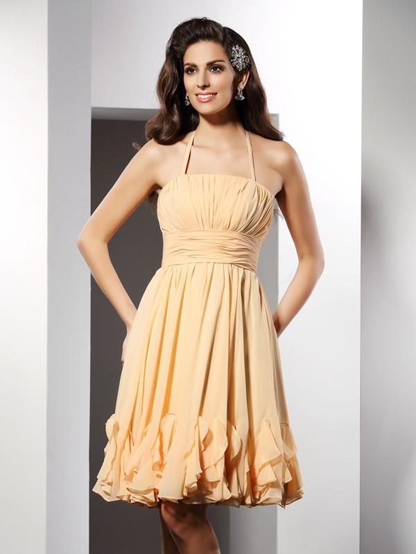 Pretty Looks Princess Style Halter Ruffles Short Chiffon Cocktail Dresses