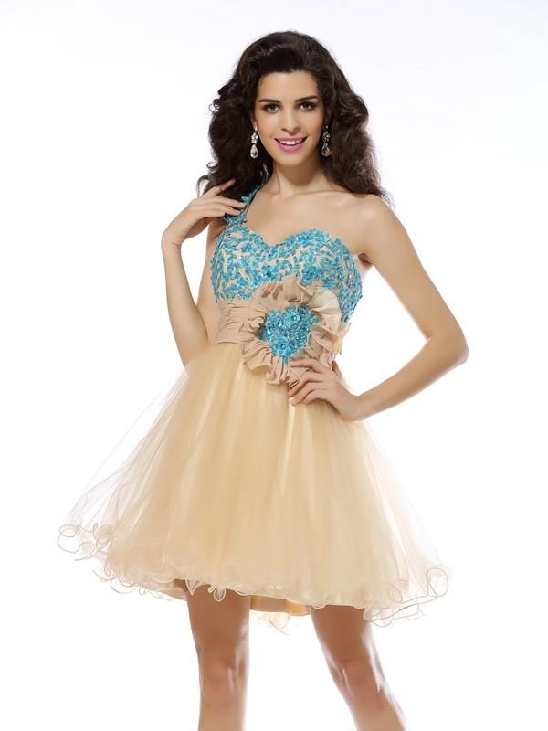 Fabulous Fit Princess Style One-Shoulder Applique Short Net Cocktail Dresses