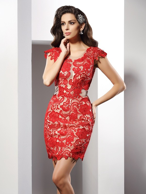 Vibrant Stylist Sheath Style Scoop Lace Short Elastic Woven Satin Cocktail Dresses