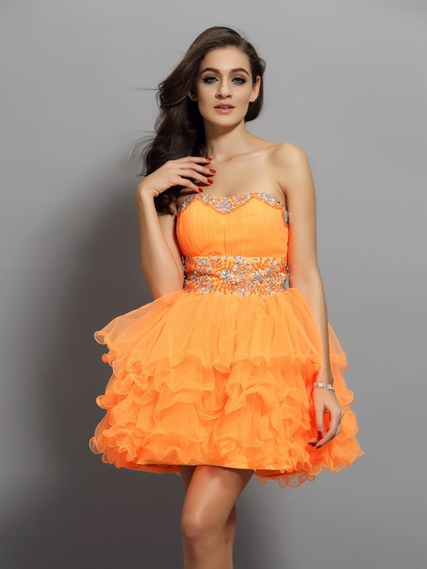 Dashing Darling Princess Style Sweetheart Ruffles Short Satin Cocktail Dresses