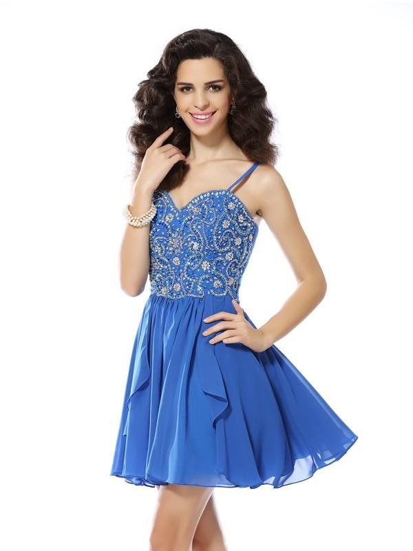 Savor the Occasion Princess Style Spaghetti Straps Beading Short Chiffon Cocktail Dresses
