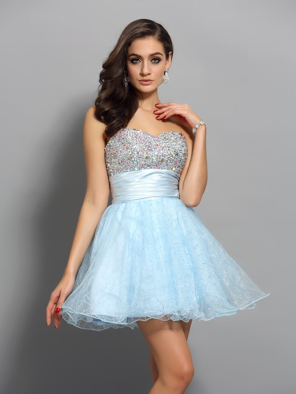 Absolute Lovely Princess Style Sweetheart Beading Short Chiffon Cocktail Dresses
