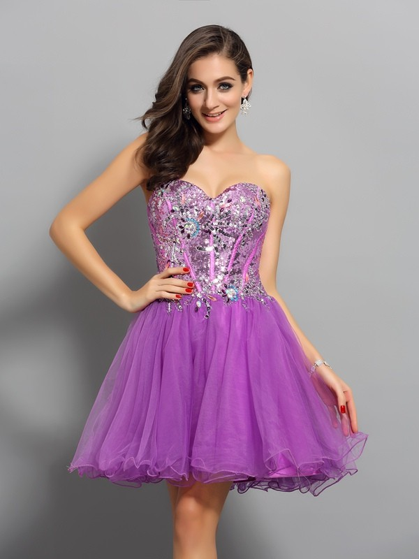 Time to Shine Princess Style Sweetheart Beading Short Satin Cocktail Dresses