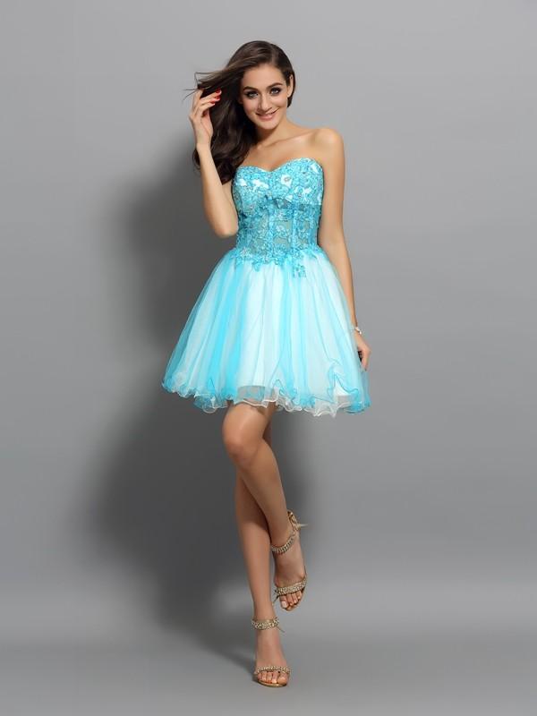 Treasured Reveries Princess Style Sweetheart Applique Beading Short Satin Cocktail Dresses