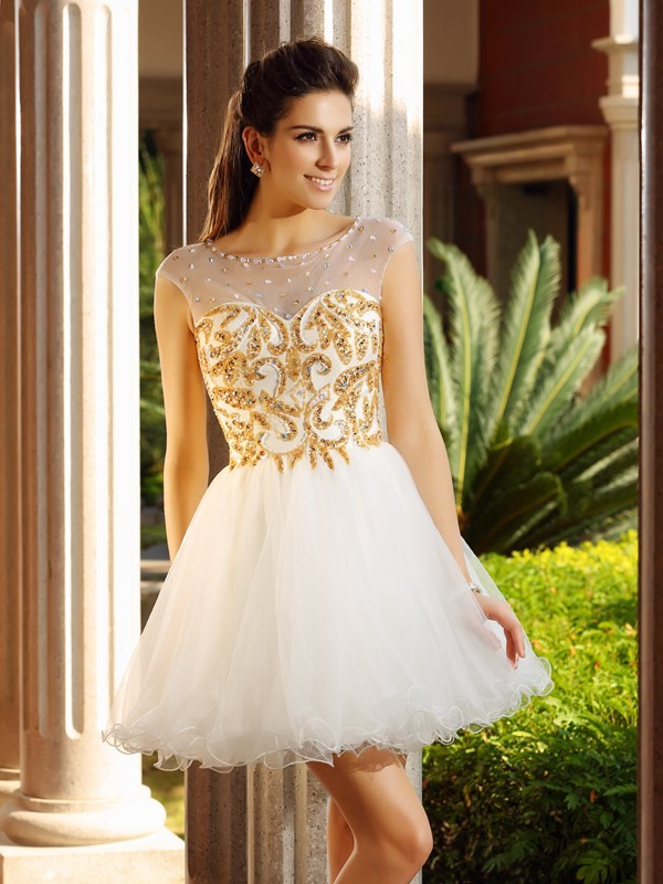 Festive Self Princess Style Scoop Ruffles Short Net Cocktail Dresses