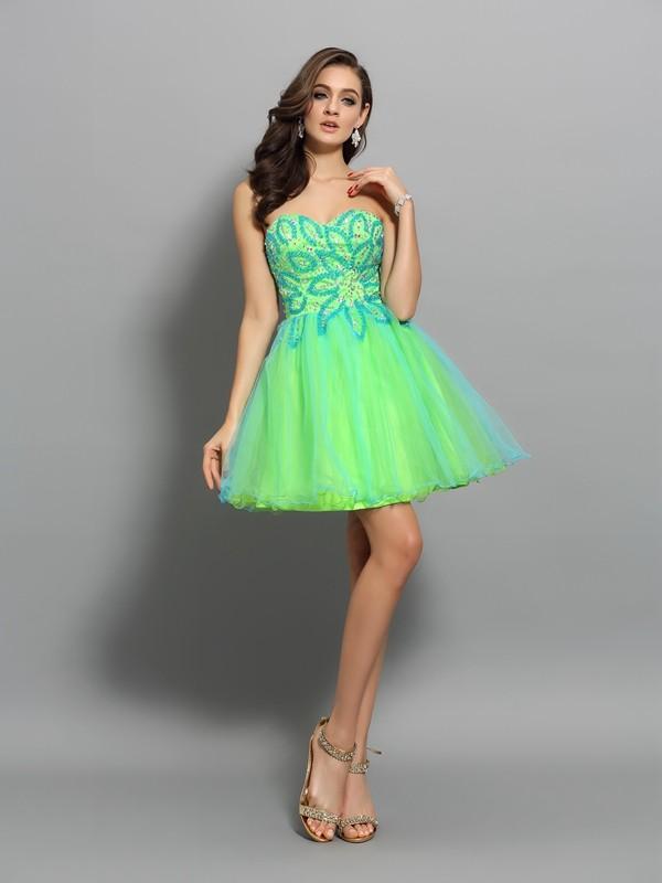 Pretty Looks Princess Style Sweetheart Beading Short Net Cocktail Dresses